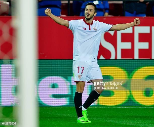 Sevilla's midfielder Pablo Sarabia celebrates after scoring during the Spanish league football match Sevilla FC vs SD Eibar on February 18 2017 / AFP...