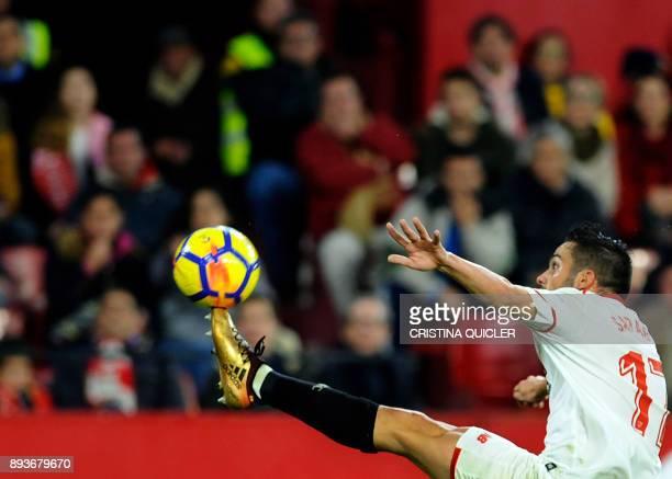 Sevilla's midfielder Pablo Sarabia kicks the ball during the Spanish league football match Sevilla FC vs Levante at the Ramon Sanchez Pizjuan stadium...