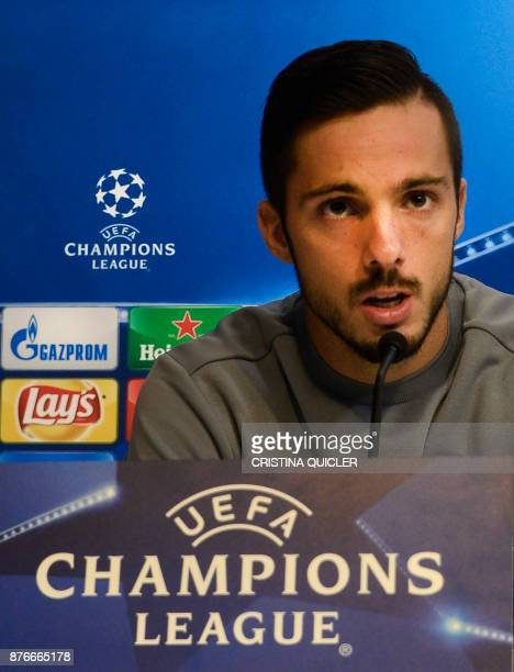 Sevilla's midfielder Pablo Sarabia speaks during a press conference at Ramon Sanchez Pizjuan stadium in Sevilla on November 20 2017 on the eve of the...