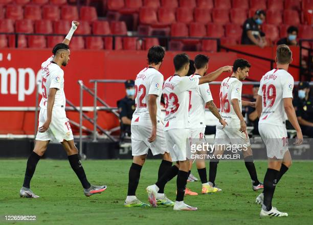 Sevilla's Moroccan forward Youssef En-Nesyri celebrates after scoring a goal during the Spanish league football match between Sevilla FC and RCD...