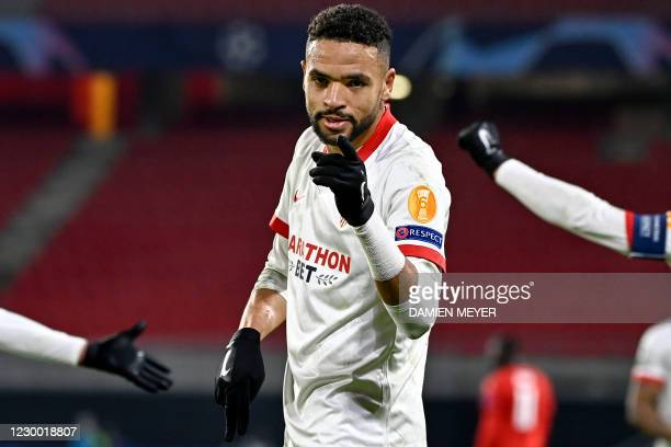 Sevilla's Moroccan forward Youssef En-Nesyri celebrates after scoring a goal during the UEFA Champions League Group E football match between Stade...