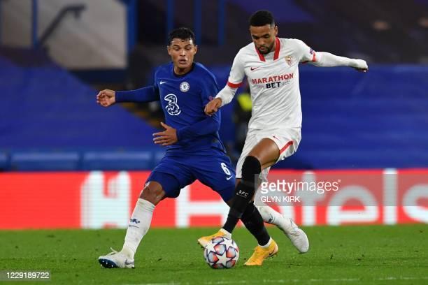 Sevilla's Moroccan forward Youssef En-Nesyri takes on Chelsea's Brazilian defender Thiago Silva during the UEFA Champions League first round Group E...