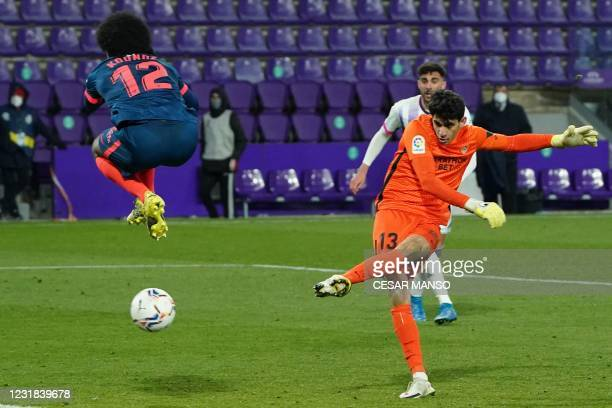 Sevilla's Moroccan goalkeeper Yassine Bounou Bono scores during the Spanish League football match between Real Valladolid and Sevilla at the Jose...