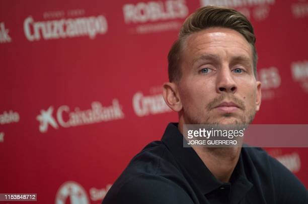 Sevilla's new Dutch forward Luuk De Jong gives a press conference during his official presentation in Sevilla on July 5 2019