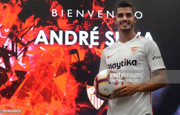 Sevilla's new Portuguese forward Andre Silva poses during his official presentation at the Ramon Sanchez Pizjuan stadium in Sevilla on August 14 2018