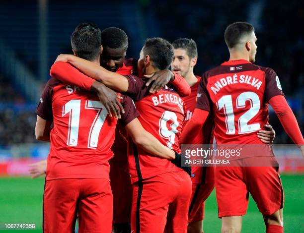 Sevilla's players celebrate after Spanish midfielder Pablo Sarabia scored during the Spanish league football match Deportivo Alaves against Sevilla...