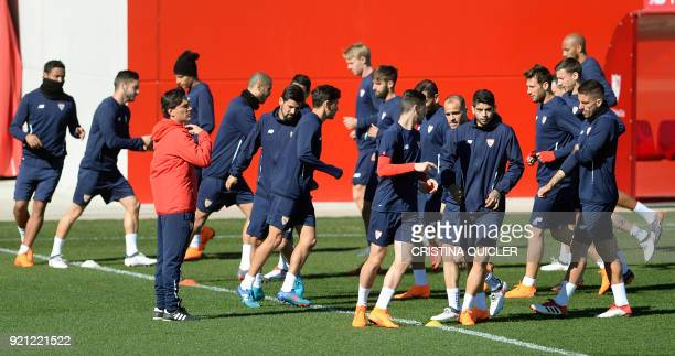 Sevilla's players exercice during a training session at Ciudad Deportiva at the Ramon Sanchez Pizjuan stadium in Sevilla on February 20 2018 on the...