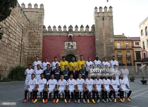 Sevilla's Polish midfielder Grzegorz Krychowiak Sevilla's Colombian forward Carlos Bacca Sevilla's midfielder Vitolo Sevilla's goalkeeper Mariano...