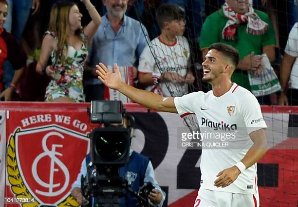 Sevilla's Portuguese forward Andre Silva celebrates scoring a goal during the Spanish league football match Sevilla FC against Real Madrid CF at the...
