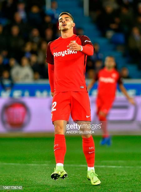 Sevilla's Portuguese forward Andre Silva gestures during the Spanish league football match Deportivo Alaves against Sevilla FC at the Mendizorroza...