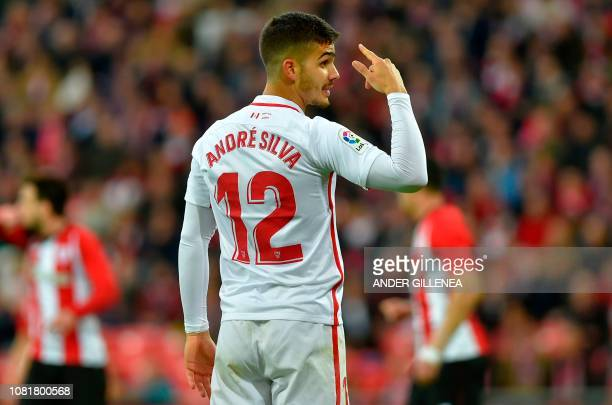 Sevilla's Portuguese forward Andre Silva gestures during the Spanish League football match between Athletic Club Bilbao and Sevilla FC at the San...