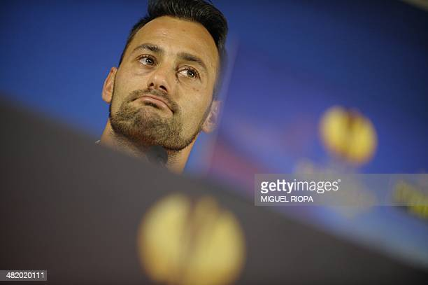 Sevilla's Portuguese goalkeeper Beto attends a press conference at the Dragao Stadium in Porto on April 2 2014 on the eve of the UEFA Europa League...