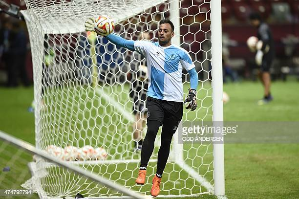 Sevilla's Portuguese goalkeeper Beto takes part in a training session on the eve of the UEFA Europa League final football match between FC Dnipro...