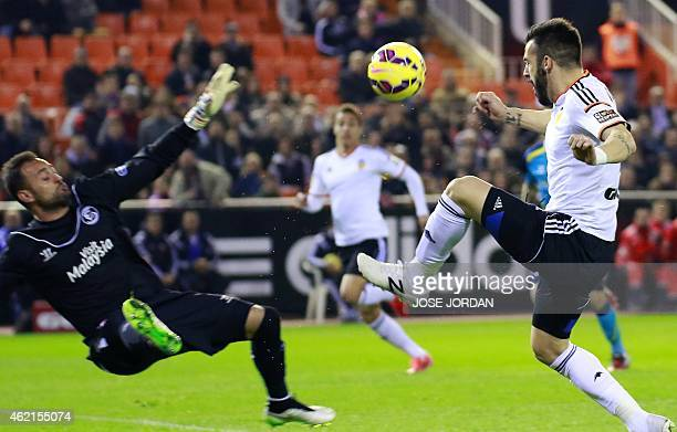 Sevilla's Portuguese goalkeeper Beto vies with Valencia's forward Alvaro Negredo during the Spanish league football match Valencia vs Sevilla at...