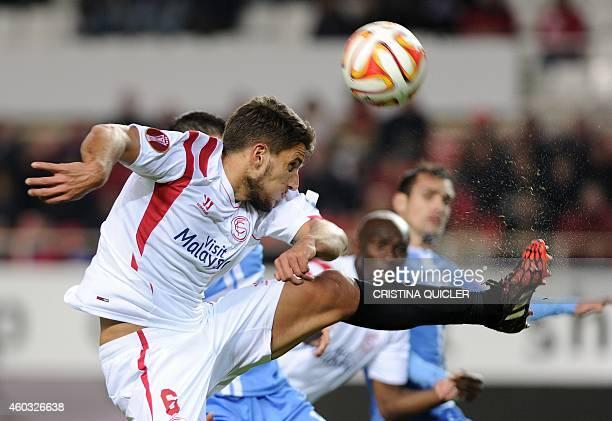 Sevilla's Portuguese midfielder Daniel Carrico kicks the ball during the UEFA Europa League Group G football match Sevilla FC vs HNK Rijeka at the...