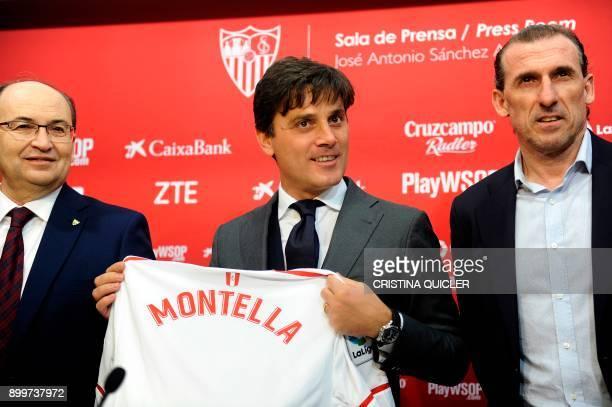TOPSHOT Sevilla's president Jose Castro and Sevilla's sports director Oscar Arias pose with Sevilla's new Italian coach Vincenzo Montella holding the...