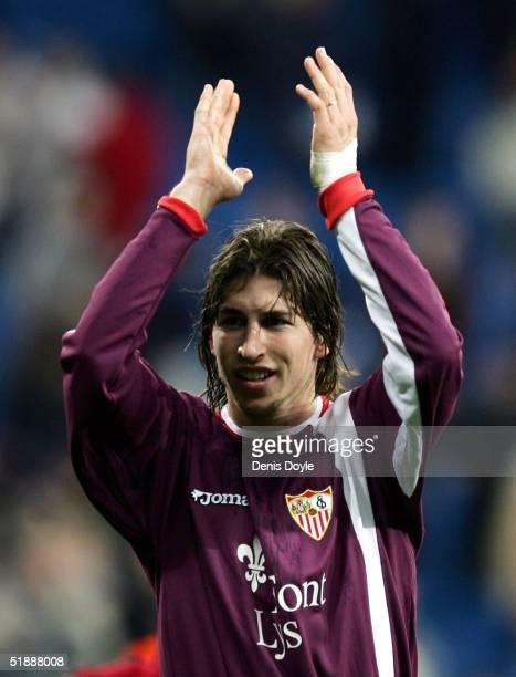 Sevilla's Sergio Ramos salutes fans after beating Real Madrid 10 during the Primera Liga match between Real Madrid and Sevilla at the Bernabeu on...