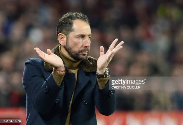 Sevilla's Spanish coach Pablo Machin gestures during the Spanish Copa del Rey quarterfinal first leg football match between Sevilla FC and FC...