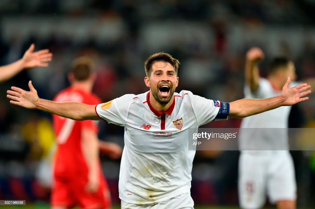 TOPSHOT - Sevilla's Spanish defender and captain Coke celebrates after scoring a goal during the UEFA Europa League final football match between Liverpool FC and Sevilla FC at the St Jakob-Park stadium in Basel, on May 18, 2016.