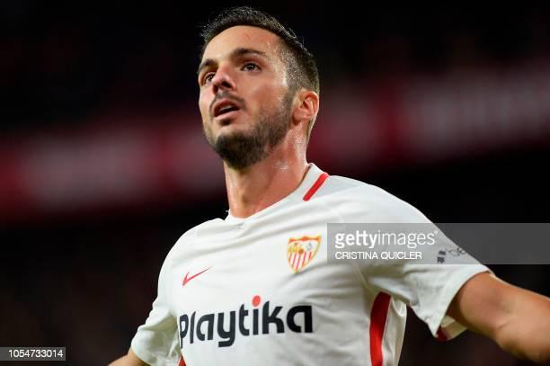 Sevilla's Spanish midfielder Pablo Sarabia celebrates a goal during the Spanish league football match between Sevilla FC and SD Huesca at the Ramon...