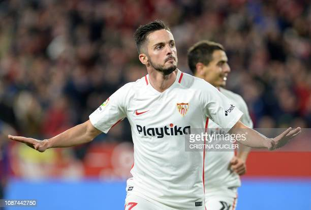 Sevilla's Spanish midfielder Pablo Sarabia celebrates after scoring a goal during the Spanish Copa del Rey quarterfinal first leg football match...