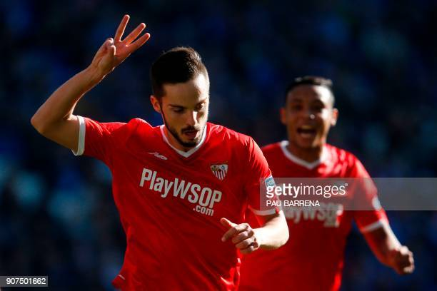 Sevilla's Spanish midfielder Pablo Sarabia celebrates after scoring a goal during the Spanish league football match between RCD Espanyol and Sevilla...
