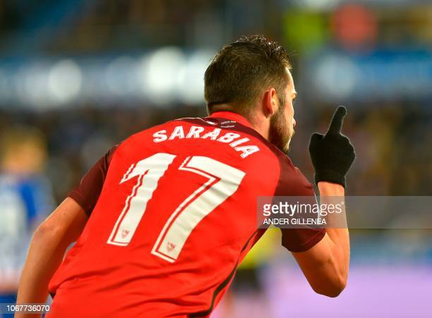 Sevilla's Spanish midfielder Pablo Sarabia celebrates after scoring during the Spanish league football match Deportivo Alaves against Sevilla FC at...