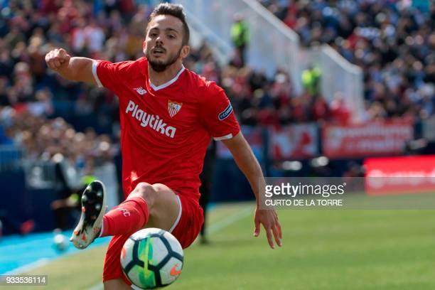 Sevilla's Spanish midfielder Pablo Sarabia controls the ball during the Spanish League football match between Club Deportivo Leganes SAD and Sevilla...