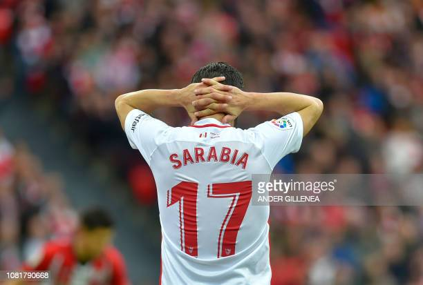 Sevilla's Spanish midfielder Pablo Sarabia gestures during the Spanish League football match between Athletic Club Bilbao and Sevilla FC at the San...