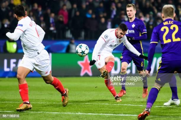 Sevilla's Spanish midfielder Pablo Sarabia kicks the ball during the UEFA Champions League Group E football match between NK Maribor and Sevilla FC...