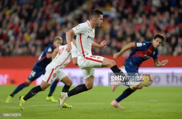 TOPSHOT Sevilla's Spanish midfielder Pablo Sarabia prepares to shoot and score a goal during the Spanish league football match between Sevilla FC and...