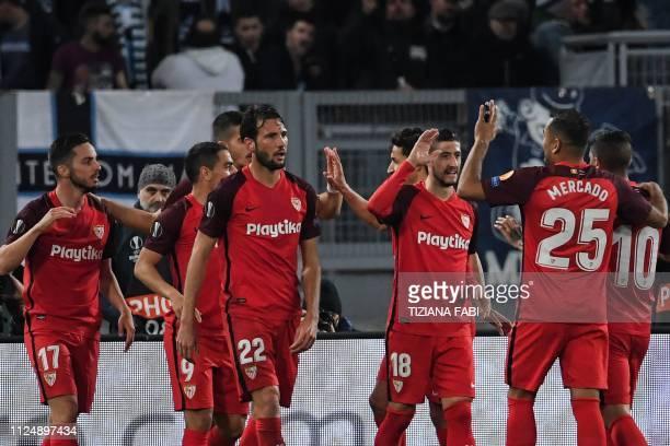 Sevilla's Spanish midfielder Pablo Sarabia Sevilla's French forward Wissam Ben Yedder Sevilla's Argentine midfielder Franco Vazquez Sevilla's Spanish...