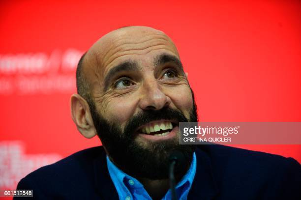 Sevilla's Sports director Ramon Rodriguez Verdejo aka Monchi smiles during a press conference held to announce that he will leave the Sevilla FC, at...