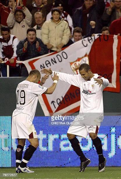 Sevilla's Uruguayan player Ernesto Javier Chevanton celebrates after Brazilian Luis Fabiano scored a goal against Osasuna during a Spanish league...