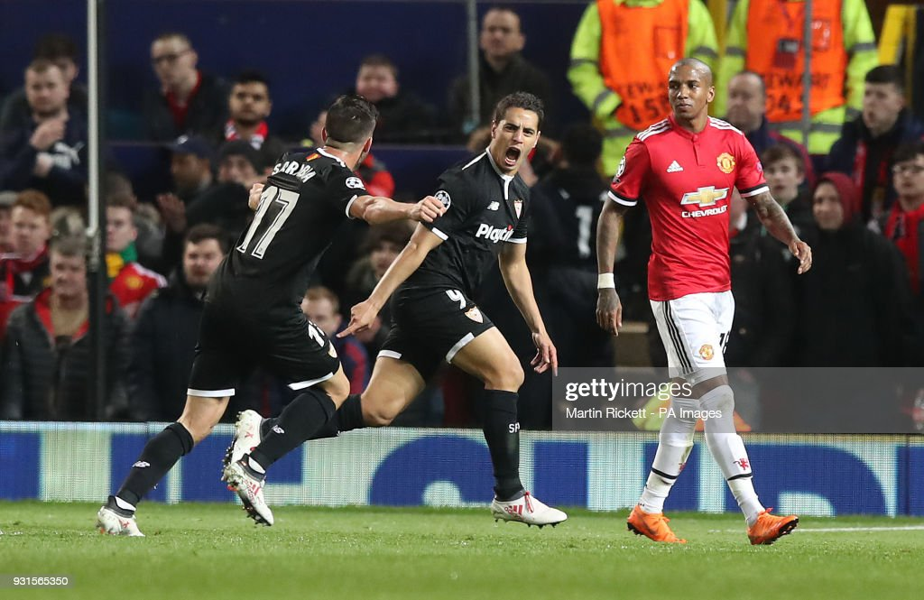 Sevilla's Wissam Ben Yedder celebrates scoring his side's first goal of the game during the UEFA Champions League round of 16, second leg match at Old Trafford, Manchester.