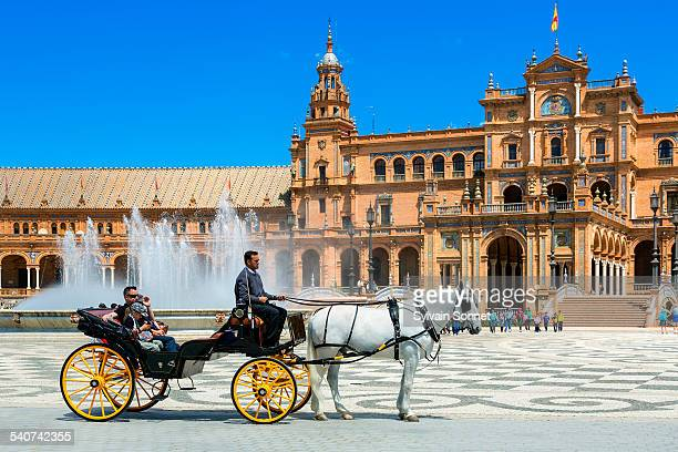 seville, carriage in plaza de espana - seville stock pictures, royalty-free photos & images