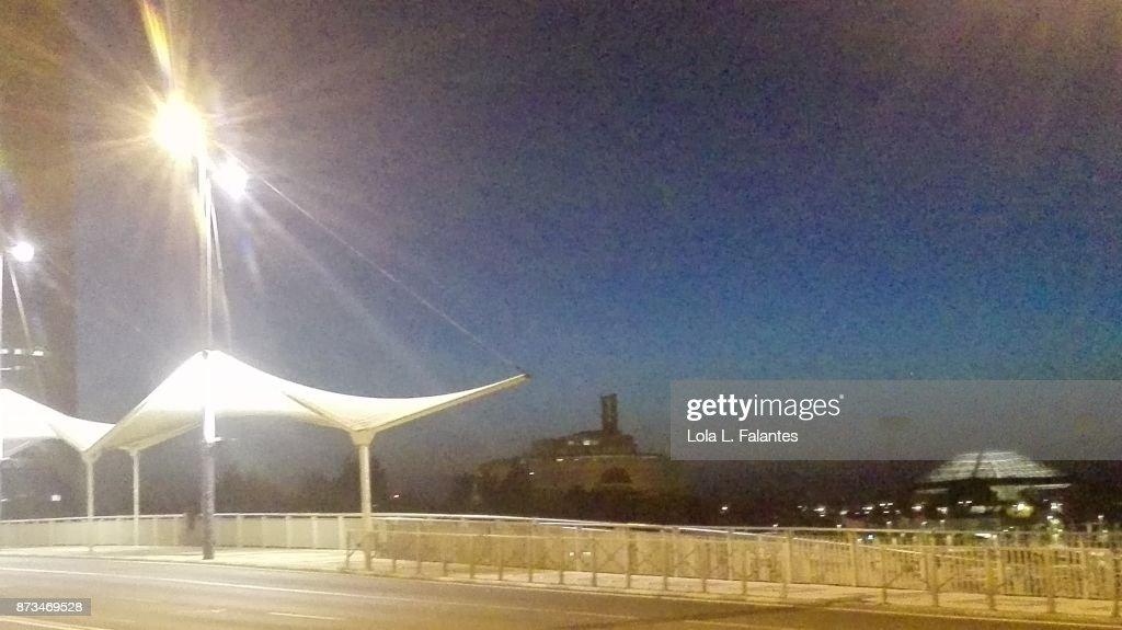 Seville cityscape at night : Foto de stock