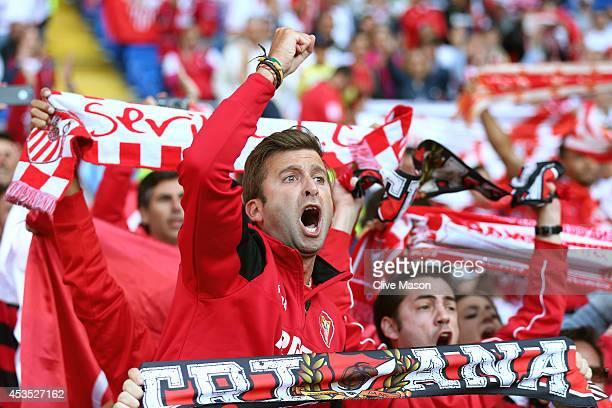 Seville Fan shows his support prior to kickoff during the UEFA Super Cup between Real Madrid and Sevilla FC at Cardiff City Stadium on August 12 2014...