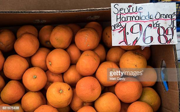 Seville marmalade oranges are displayed outside Bath Bus Station Fruiterers stall on January 18 2017 in Bath England Some food suppliers and...