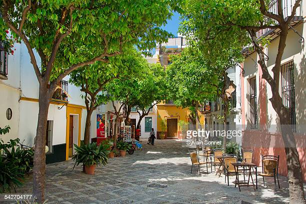 seville, plaza in santa cruz district - incidental people stock pictures, royalty-free photos & images