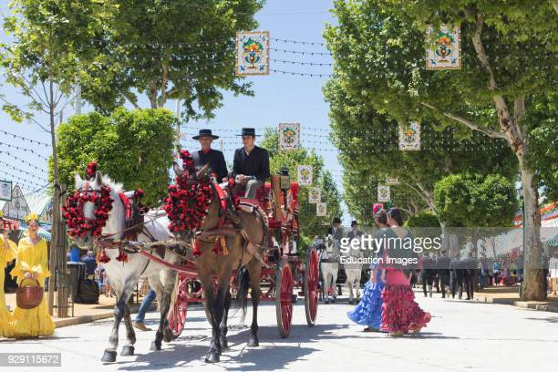 Seville Seville Province Andalusia southern Spain Feria de Abril the April Fair Horse and carriage parade