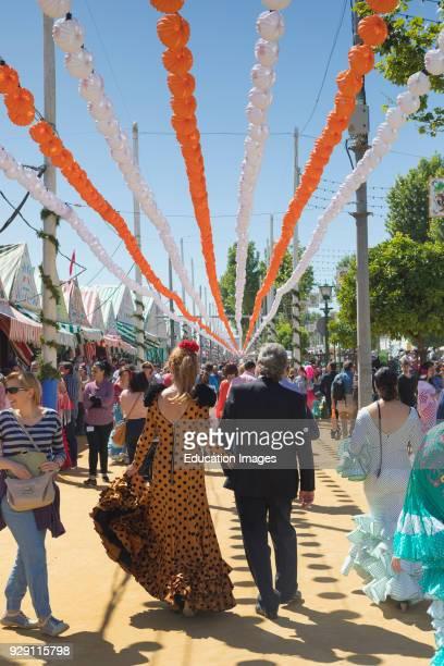 Seville Seville Province Andalusia southern Spain Feria de Abril the April Fair Strolling through the fairground
