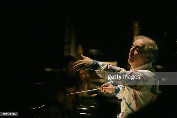 ArgentinianIsraeli director Daniel Barenboim directs the Staatskapelle orchestra from Berlin with the opera 'Parsifal' by Richard Wagner during the...