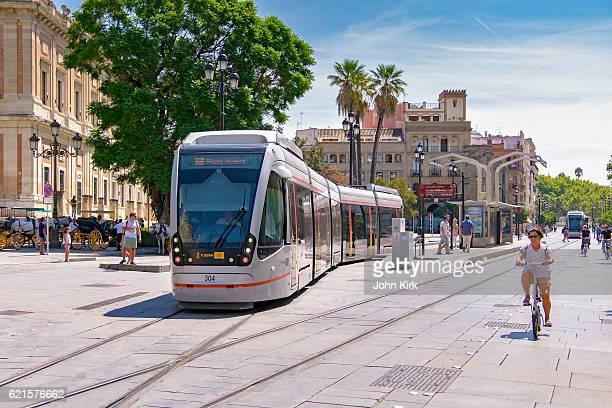 Seville trams (light rail) blend with historic city centre