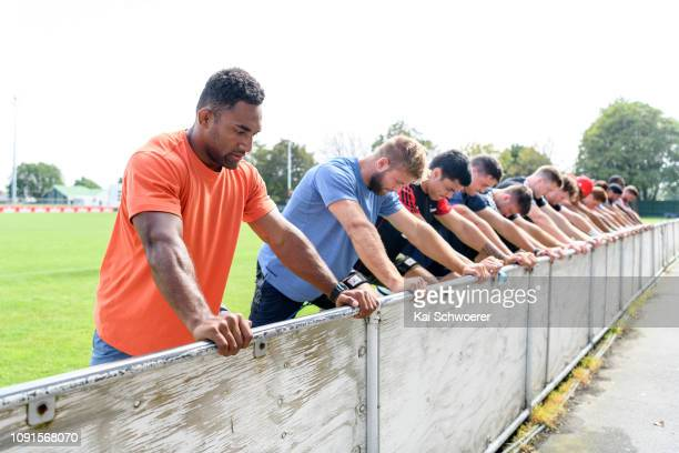 Sevu Reece and his team mates take part in a drill during a Crusaders Super Rugby training session at Rugby Park on January 31 2019 in Christchurch...