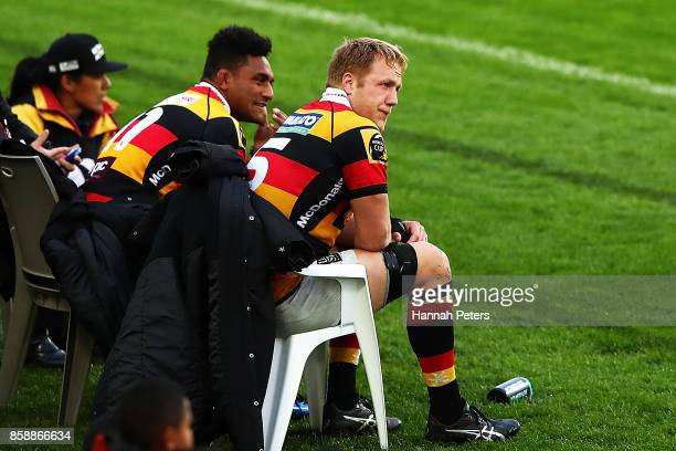 Sevu Reece and James Tucker of Waikato sit on the bench after both receiving yellow cards during the round eight Mitre 10 Cup match between Waikato...