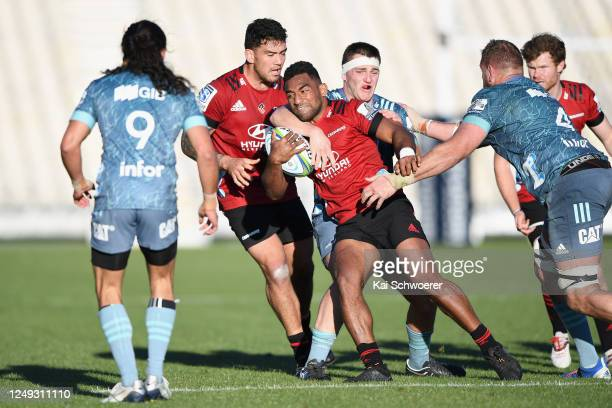 Sevu Reece is tackled during the Crusaders practice match at Orangetheory Stadium on June 13 2020 in Christchurch New Zealand