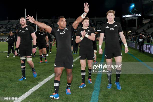 Sevu Reece of the All Blacks celebrates after winning the 2019 Rugby Championship Test Match between the New Zealand All Blacks and the Australian...