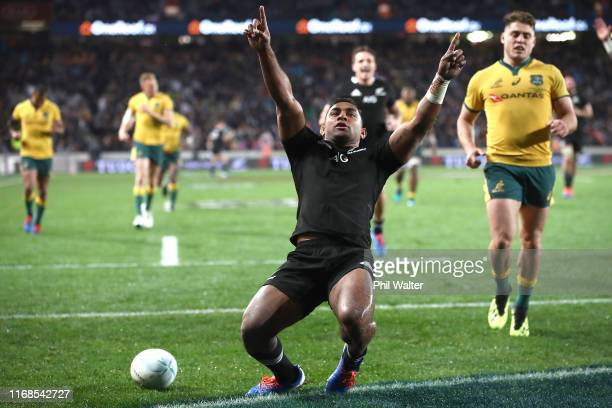 Sevu Reece of the All Blacks celebrates his try during The Rugby Championship and Bledisloe Cup Test match between the New Zealand All Blacks and the...