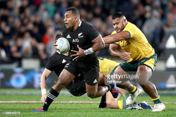 Sevu Reece of the All Blacks makes a break during The Rugby Championship and Bledisloe Cup Test match between the New Zealand All Blacks and the...